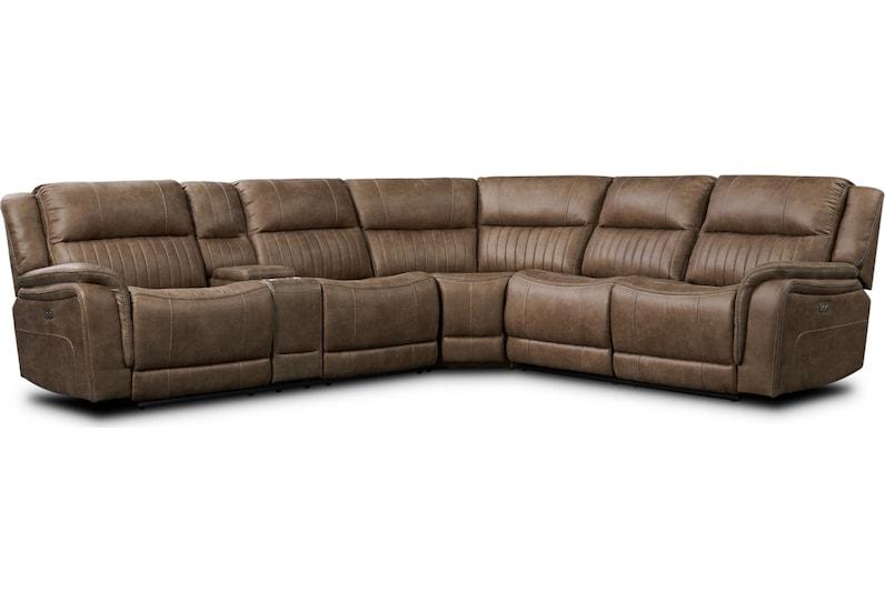 samson light brown  pc power reclining sectional