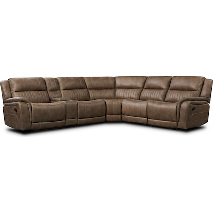 Samson 3-Piece Manual Reclining Sectional - Mushroom