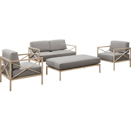 Sandbar Outdoor Loveseat, 2 Armchairs, and Ottoman Set - Gray