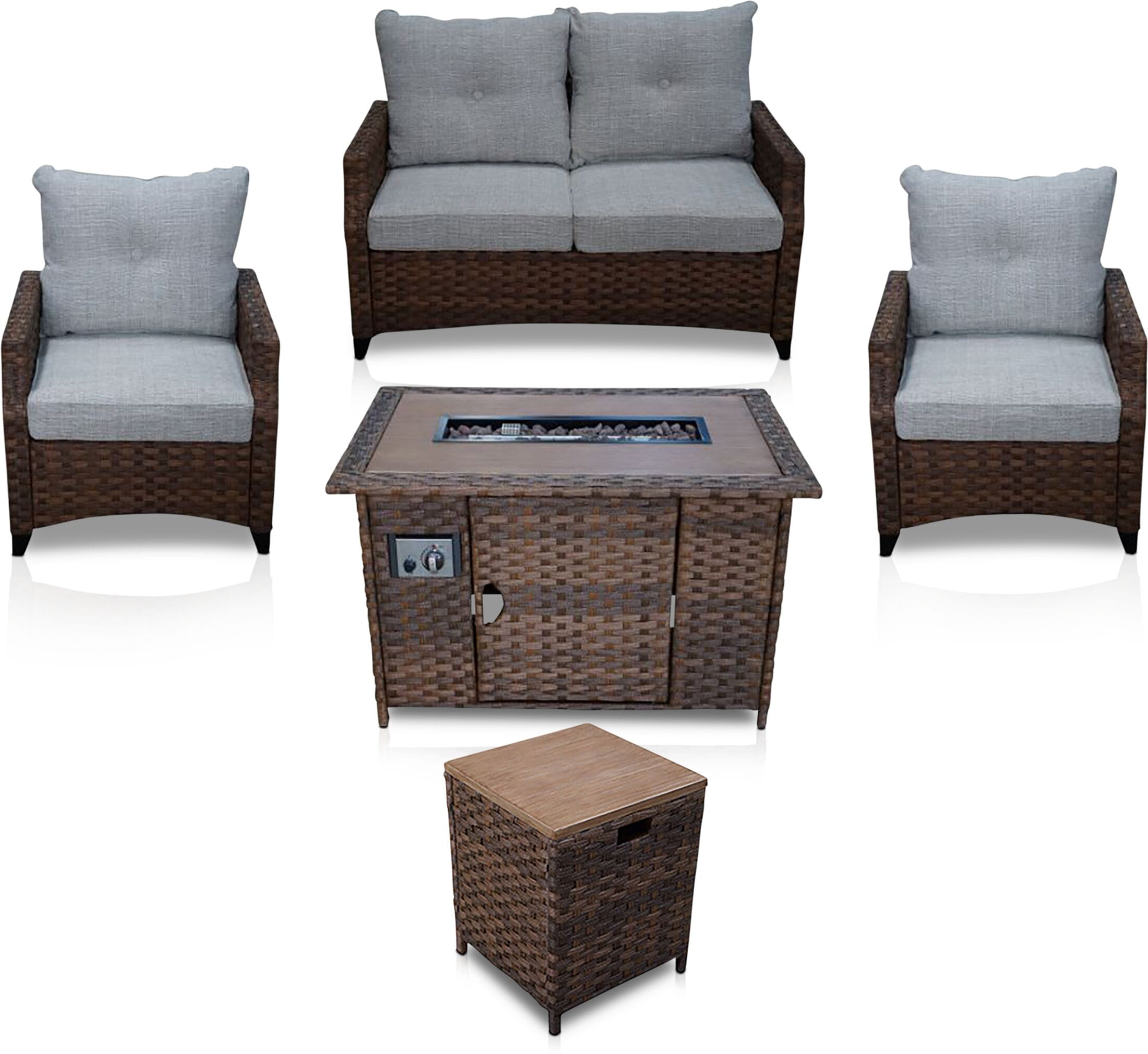 Outdoor Furniture - Santa Cruz Outdoor Loveseat, Set of 2 Chairs, End Table and Fire Table