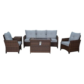 Santa Cruz Outdoor Sofa, Set of 2 Chairs and Fire Table