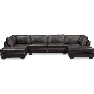Santana 3-Piece Sectional with Dual Chaise - Black