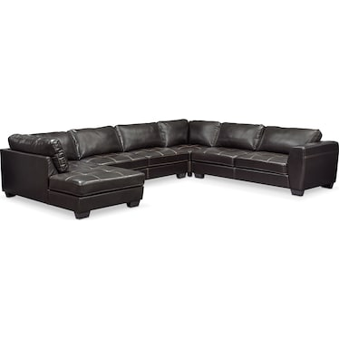Santana 4-Piece Sectional with Left-Facing Chaise - Black