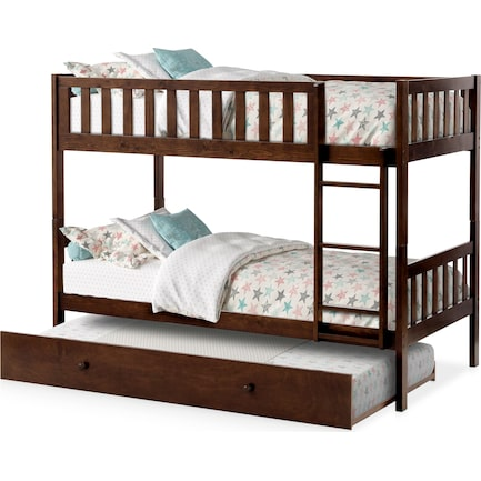 Scout Twin Over Twin Trundle Bunk Bed - Espresso