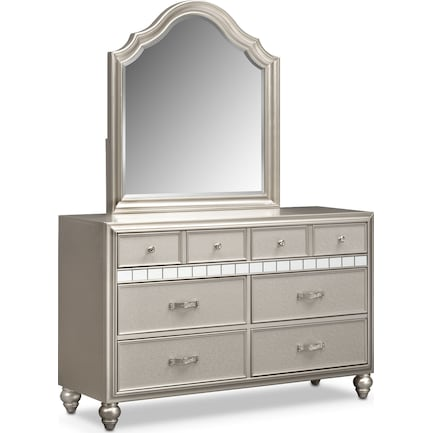 Serena Dresser and Mirror - Platinum
