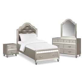 Serena Youth 6-Piece Storage Bedroom Set with Nightstand, Dresser and Mirror
