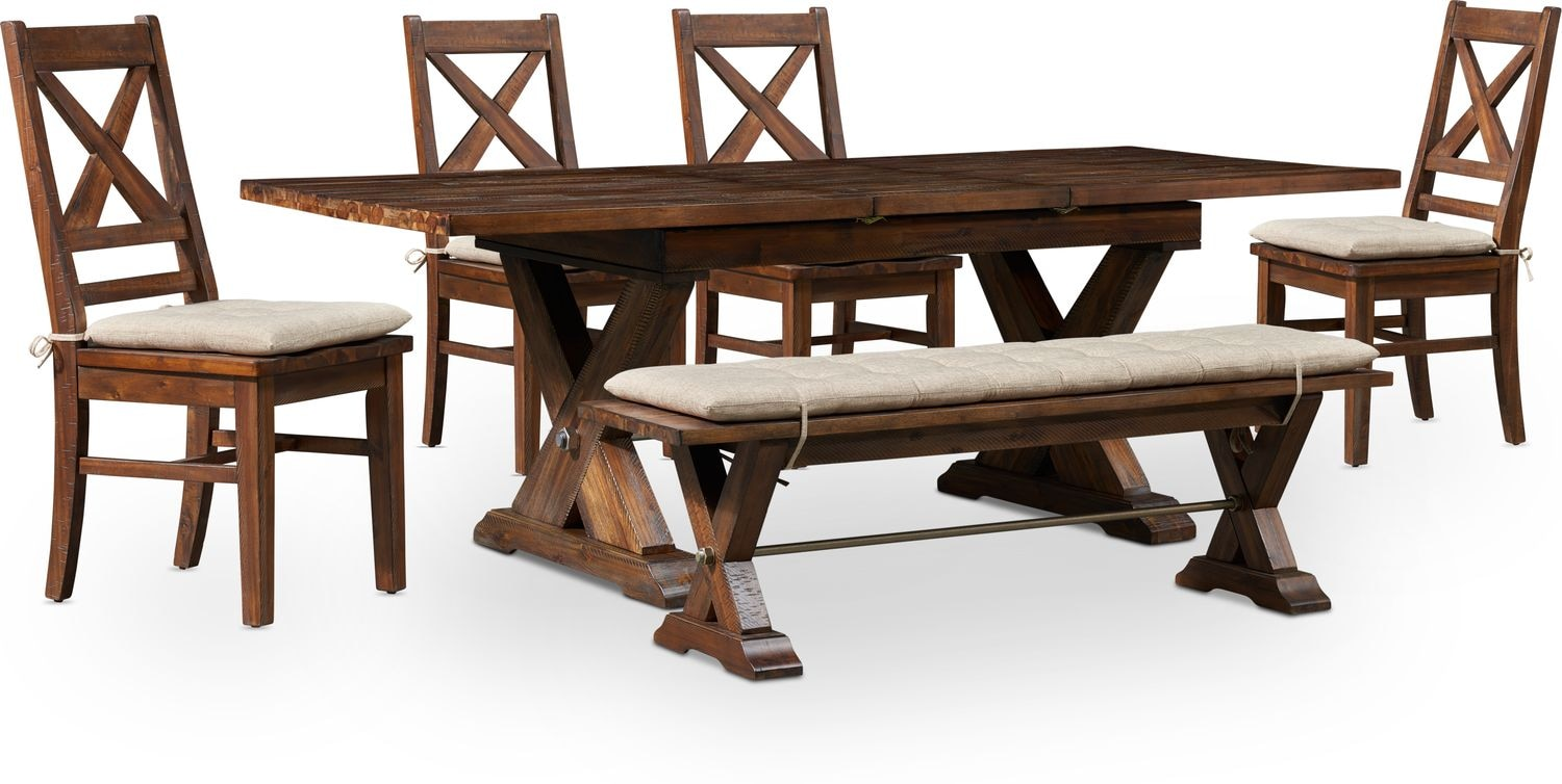 Dining Room Furniture - Shiloh Dining Table, Bench and 4 Dining Chairs