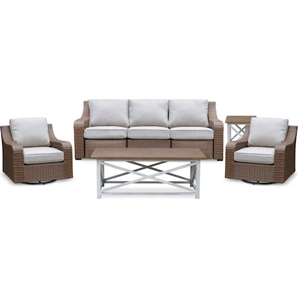 Shoreline Outdoor Reclining Sofa, 2 Swivel Rockers, Coffee Table and End Table