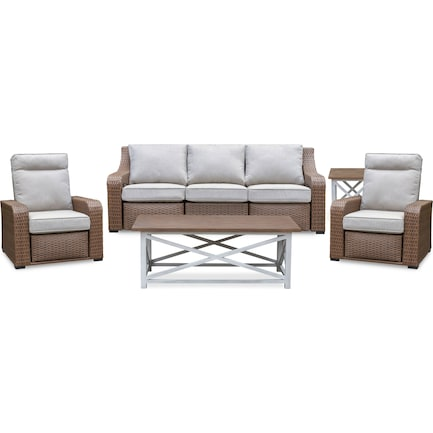 Shoreline Outdoor Reclining Sofa, 2 Recliners, Coffee Table and End Table
