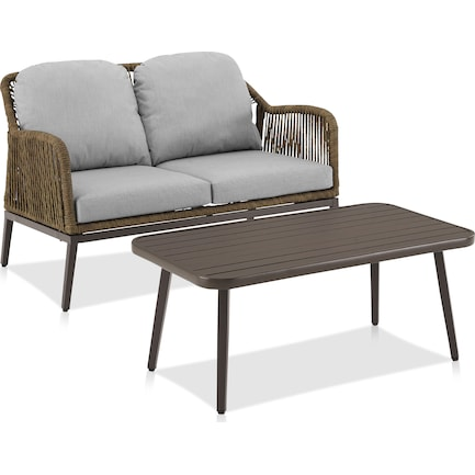 Solara Outdoor Loveseat and Coffee Table Set