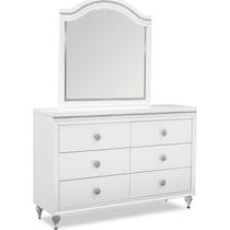 sophia youth white dresser & mirror