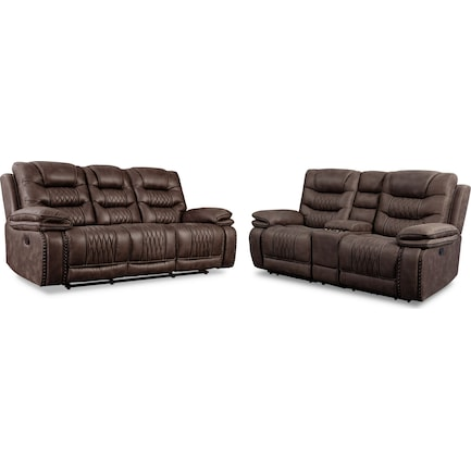 Sorrento Manual Reclining Sofa and Loveseat - Brown