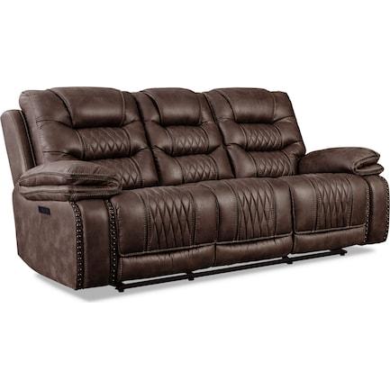 Sorrento Dual-Power Reclining Sofa - Brown