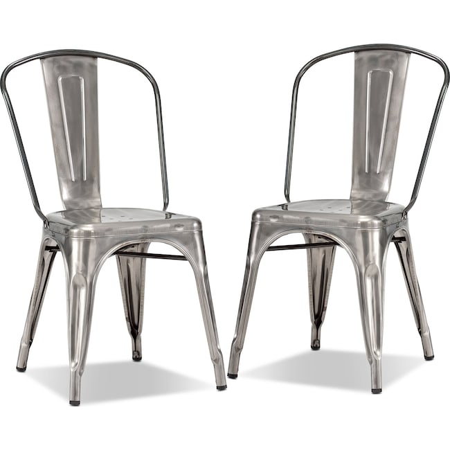 Dining Room Furniture - Squadron 2-Pack Side Chairs - Polished Steel