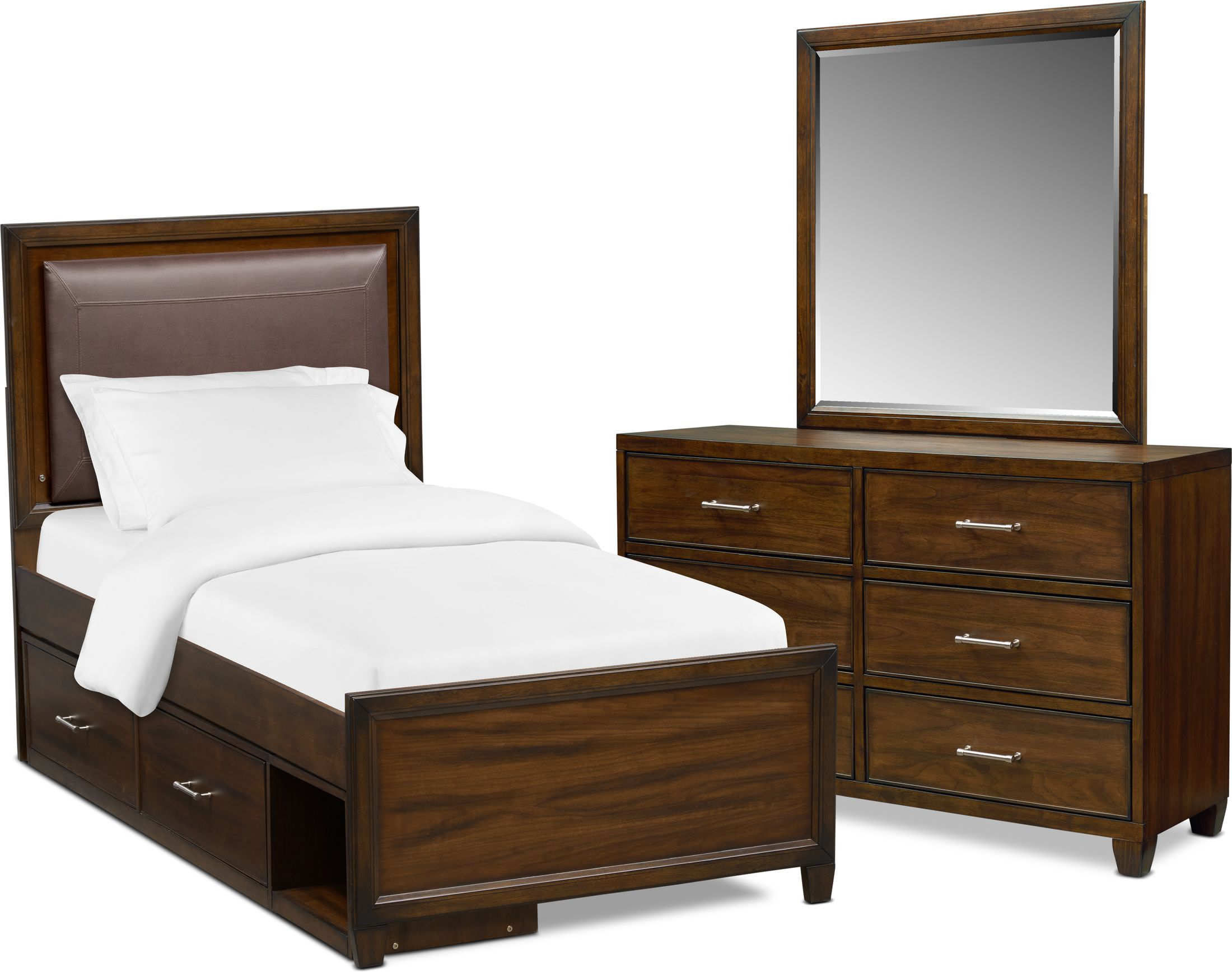 Bedroom Furniture - Sullivan 5-Piece Upholstered Storage Bedroom Set with Dresser and Mirror