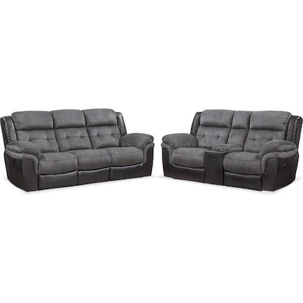 Tacoma Manual Reclining Sofa and Loveseat Set - Black