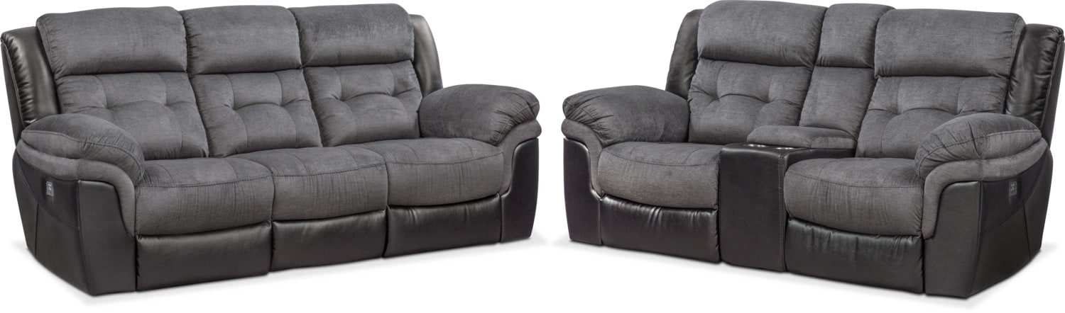 Living Room Furniture - Tacoma Dual-Power Reclining Sofa and Loveseat Set