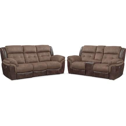 Tacoma Dual-Power Reclining Sofa and Loveseat Set - Brown