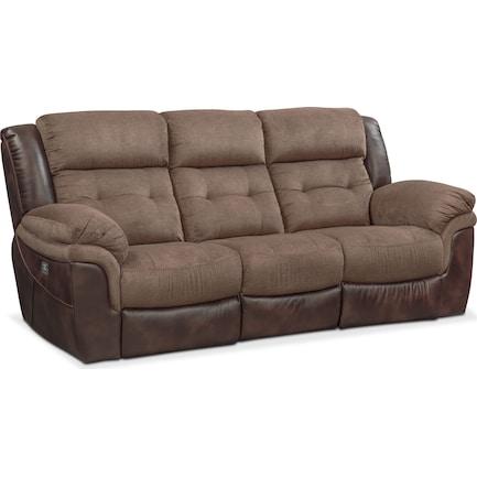 Tacoma Dual-Power Reclining Sofa - Brown