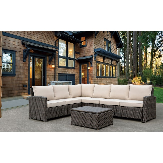 Outdoor Furniture - Tahoe Outdoor Sectional and Coffee Table Set