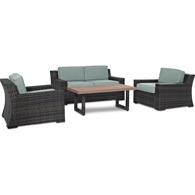 Outdoor Furniture - Tethys Outdoor Loveseat, 2 Chairs, and Coffee Table Set