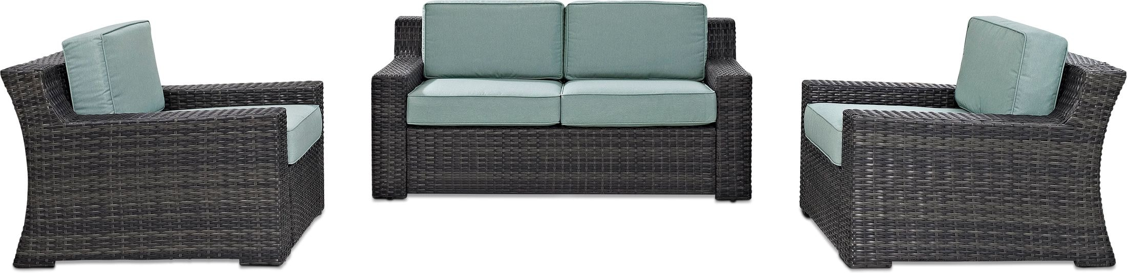 Outdoor Furniture - Tethys Outdoor Loveseat and 2 Chairs Set