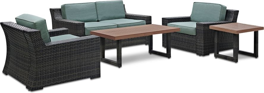 Outdoor Furniture - Tethys Outdoor Loveseat, 2 Chairs, Coffee Table, and End Table Set