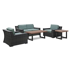 Tethys Outdoor Loveseat, 2 Chairs, Coffee Table, and End Table Set