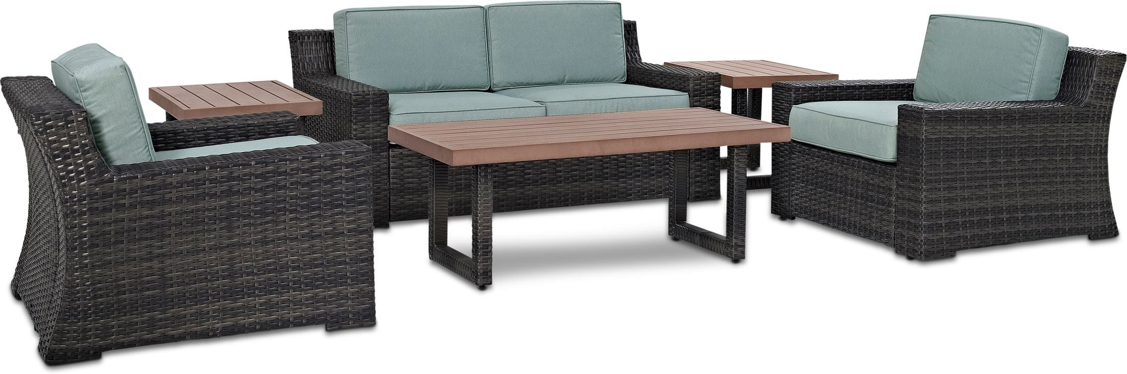 Outdoor Furniture - Tethys Outdoor Loveseat, 2 Chairs, Coffee Table, and 2 End Tables Set