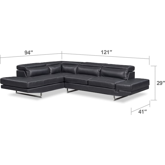 Living Room Furniture - Torino 2-Piece Sectional with Chaise