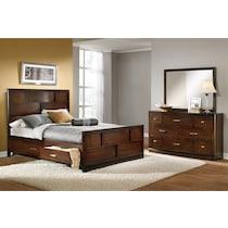 toronto dark brown  pc king storage bedroom