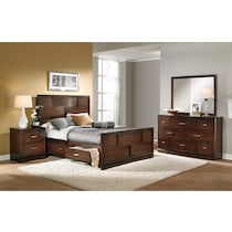 toronto dark brown  pc queen storage bedroom