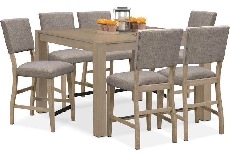 tribeca ch dining gray  pc counter height dining room