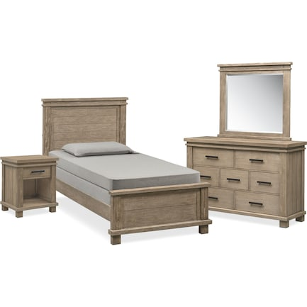 Tribeca Youth 6-Piece Twin Bedroom Set with Nightstand, Dresser and Mirror - Gray