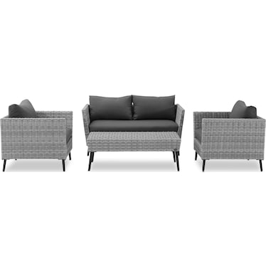 Ventura Outdoor Loveseat, 2 Chairs, and Coffee Table Set