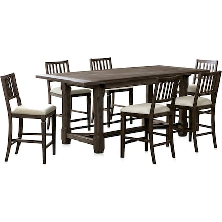Vernon Counter-Height Dining Table and 6 Slat Back Stools
