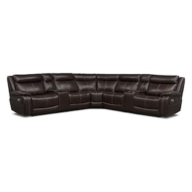 Vince 7-Piece Dual-Power Reclining Sectional with 3 Reclining Seats