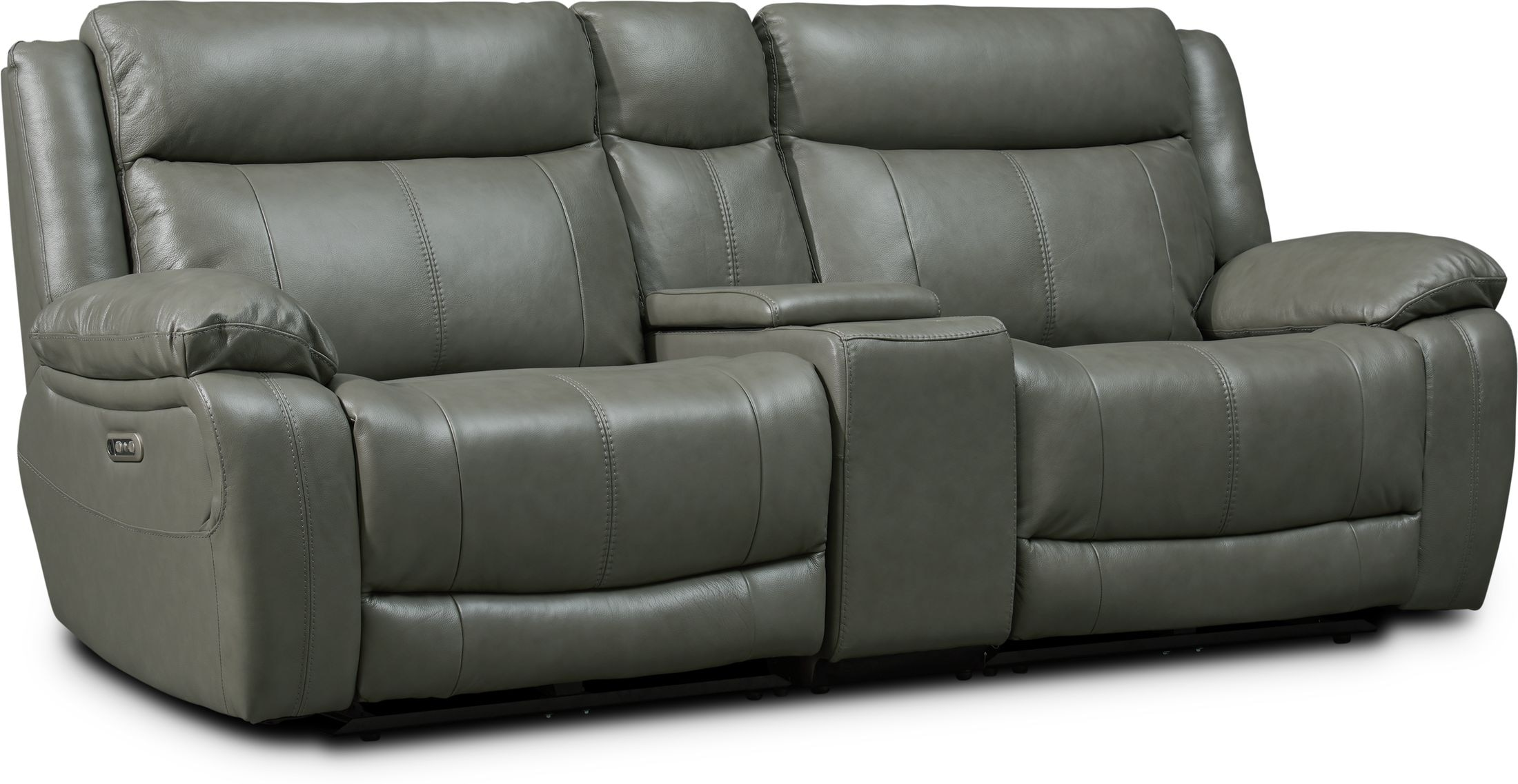 Living Room Furniture - Vince 3-Piece Dual-Power Reclining Sofa with Console
