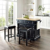 warren black kitchen island set