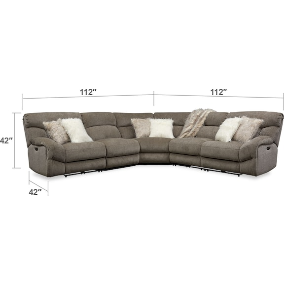 Living Room Furniture - Wave 5-Piece Dual-Power Reclining Sectional with 2 Reclining Seats