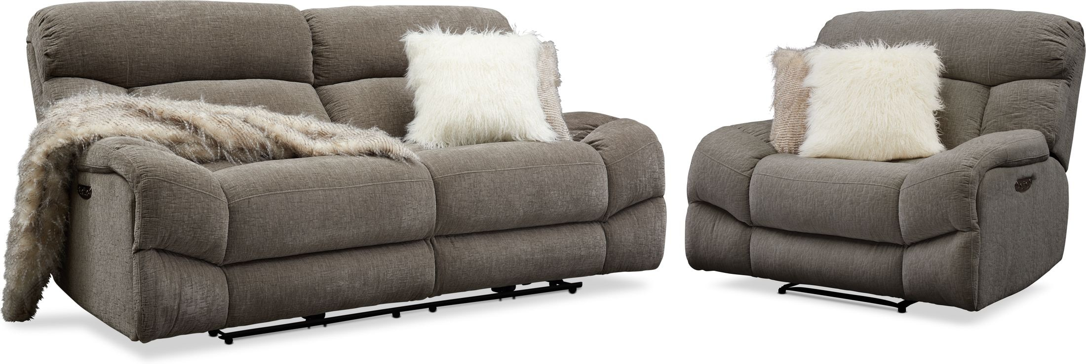 Living Room Furniture - Wave Dual-Power Reclining Sofa and Recliner Set