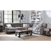 wave collection gray  pc power reclining sectional