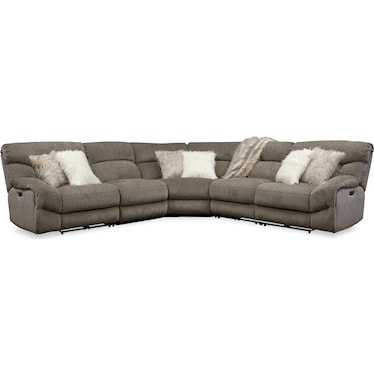 Wave 5-Piece Dual-Power Reclining Sectional with 2 Reclining Seats- Ash