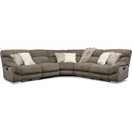 Wave 5-Piece Manual Reclining Sectional with 3 Reclining Seats - Ash