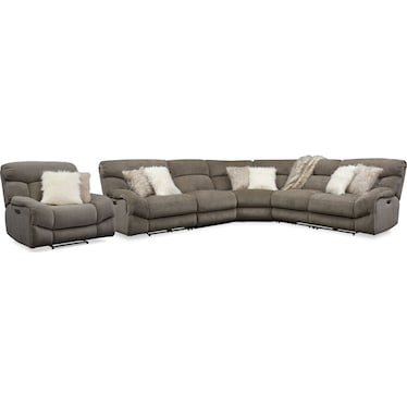 Wave 5-Piece Dual-Power Reclining Sectional with 3 Reclining Seats and Recliner - Ash