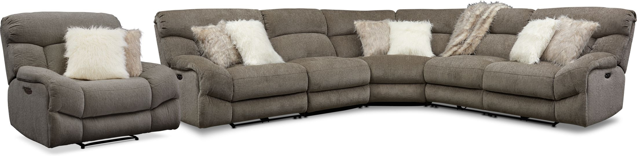 Living Room Furniture - Wave 5-Piece Dual-Power Reclining Sectional with 2 Reclining Seats and Recliner