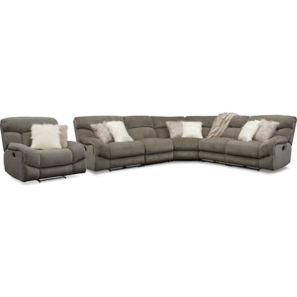 Wave 5-Piece Manual Reclining Sectional with 2 Reclining Seats and Recliner - Ash