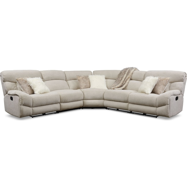 Living Room Furniture - Wave 5-Piece Manual Reclining Sectional with 2 Reclining Seats