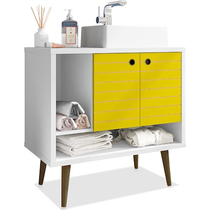 "Webb 32"" Bathroom Vanity - White/Yellow"
