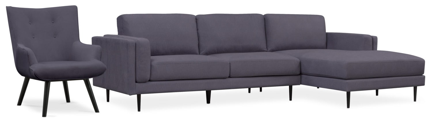 Living Room Furniture - West End 2-Piece Sectional and Accent Chair